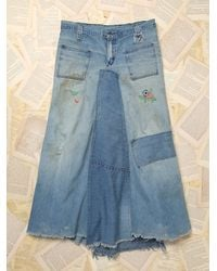 Free People - Blue Womens Vintage Patchwork Denim Maxi Skirt - Lyst