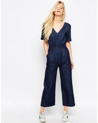 bdaa175b34b ASOS Denim Wide Leg Jumpsuit In Cropped Length With Tie Back in Blue ...