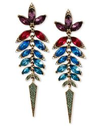 Betsey Johnson | Metallic Gold-tone Multi-colored Faceted Stone Linear Earrings | Lyst