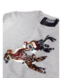 Markus Lupfer - Gray Christmas Reindeer' Sequin Natalie Kids Sweater for Men - Lyst