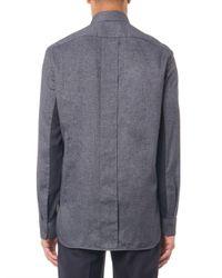 Balenciaga - Gray Contrast-Panel Flannel Shirt for Men - Lyst