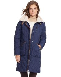 Lauren by Ralph Lauren | Blue Faux Shearling Trim Quilted Down & Feather Fill Coat | Lyst