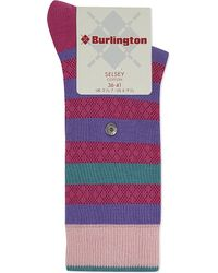 Smythson - Purple Selsey Striped Socks - Lyst