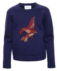 Gucci - Blue Bird Embroidered Sweatshirt for Men - Lyst