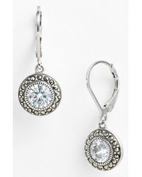 Judith Jack - Metallic Marcasite & Cubic Zirconia Drop Earrings - Sterling Silver - Lyst