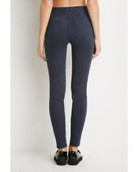 Forever 21 | Blue Ponte Knit Leggings | Lyst