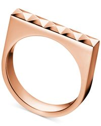 Calvin Klein - Metallic Rose Gold-tone Pvd-finished Stainless Steel Stud Ring - Lyst