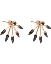 Pamela Love | Black Diamond Rose Gold Five Spike Earrings | Lyst