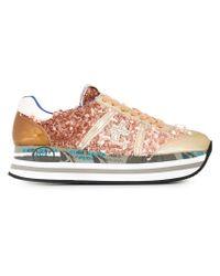 Premiata | Metallic Beth Glitter-Embellished Sneakers | Lyst