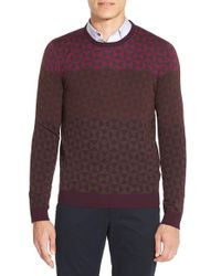 Ted Baker | Purple 'zano' Geo Print Crewneck Sweater for Men | Lyst