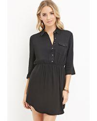 Forever 21 - Black Buttoned-pocket Shirt Dress - Lyst