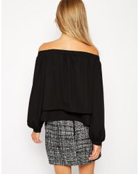 ASOS | Black Woven Off The Shoulder Top | Lyst