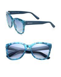 Jimmy Choo   Teal Nurias 54mm Square Sunglasses   Lyst