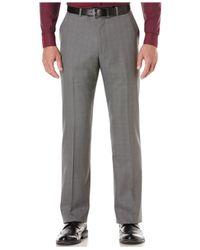 Perry Ellis - Gray Portfolio Straight-fit Plaid Dress Pants for Men - Lyst