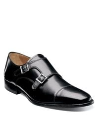 Florsheim | Black Sabato Leather Monk-strap Loafers for Men | Lyst