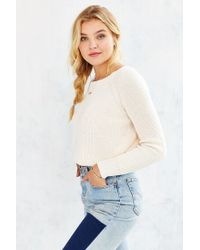 Kimchi Blue - White Off-shoulder Cropped Sweater - Lyst