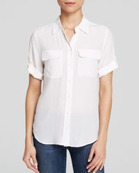 Equipment | White Blouse - Short Sleeve Slim Signature | Lyst