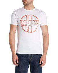 883 Police | White Graphic Crew Neck Regular Fit T-shirt for Men | Lyst