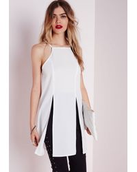 Missguided - Long Line Double Split Cami White - Lyst