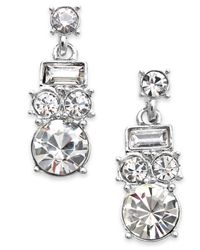 kate spade new york - Metallic Silver-tone Glass Stone Drop Earrings - Lyst
