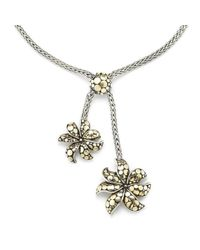 John Hardy | Metallic Pre-Owned: Sterling Silver & 18Kt Gold Dot Lariat Flower Necklace | Lyst