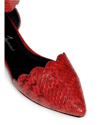Isa Tapia - Red 'juan' Scalloped Snakeskin Flats - Lyst