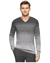 Calvin Klein | Gray Simple Ombré Stripe V-neck Sweater for Men | Lyst