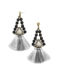BaubleBar | Black 'nolita' Drop Earrings - Antique Gold | Lyst