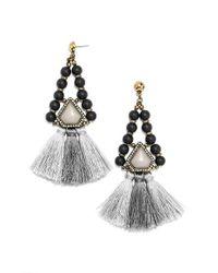 BaubleBar - Black 'nolita' Drop Earrings - Antique Gold - Lyst