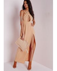 Missguided - Natural Wrap Maxi Dress Camel - Lyst