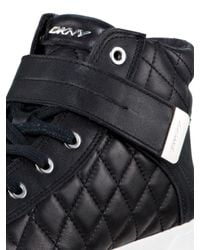 DKNY - Black Betty Quilted Leather Sneaker - Lyst