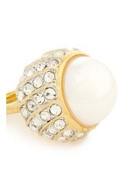 Kenneth Jay Lane - Metallic Pearl Center Rhinestone Pavé Base Ring - Lyst