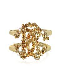 Roberto Cavalli - Metallic Signature Golden Bangle W/Crystals - Lyst