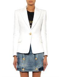 Balmain - White Single-Breasted Herringbone-Textured Blazer - Lyst