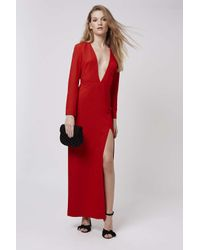 TOPSHOP - Red Plunge Crepe Maxi Dress - Lyst