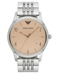 Emporio Armani | Metallic Round Watch for Men | Lyst