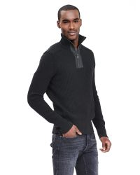 Banana Republic | Black Leather-trim Half-zip Pullover for Men | Lyst