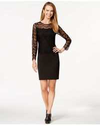 Spense | Black Petite Long-sleeve Lace Scuba Dress | Lyst