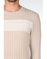 Emporio Armani | Natural Jumper In Ribbed Virgin Wool for Men | Lyst