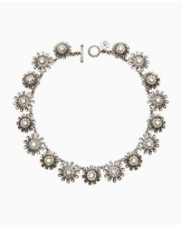 Ann Taylor - Metallic Floral Stone Necklace - Lyst