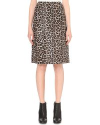 Theory | Brown Leopard-printed Leather Skirt | Lyst