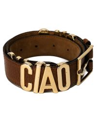 Moschino - Brown 'ciao' Buckle Belt - Lyst