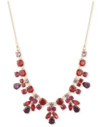 Nine West | Metallic Gold-tone Multi-stone Drama Necklace | Lyst