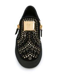 Giuseppe Zanotti - Black Zip Detail Sneakers - Lyst