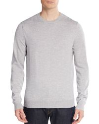 Saks Fifth Avenue | Gray Merino Wool Crewneck Sweater for Men | Lyst