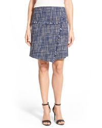 Halogen - Blue Fringe Detail Tweed A-line Skirt - Lyst