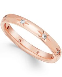 Marchesa   Pink Star By Diamond Wedding Band In 18k Rose Gold (1/8 Ct T.w.)   Lyst