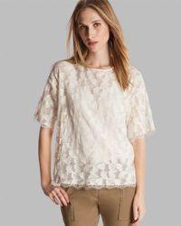 Halston - White Top Short Sleeve Crewneck Boxy Lace - Lyst