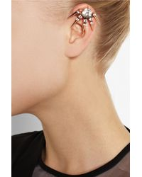 Vickisarge - Metallic Rose Gold-Plated Swarovski Crystal Clip Earring - Lyst