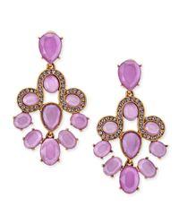 Oscar de la Renta - Purple Resin Faceted Chandelier Clip-On Earrings - Lyst